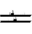 Aircraft carrier silhouettes vector