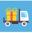 Delivery truck and gift box icon vector