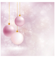 Soft and blurry christmas background with baubles vector