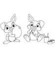 Easter bunny painting eggs vector