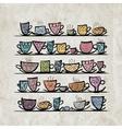 Ornate mugs on shelves grunge background vector