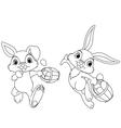 Easter bunny hiding eggs vector