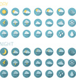 Set of round flat weather icons isolated on white vector