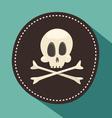 Skull and bones jolly roger - pirate icon black vector