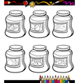 Jams in jars set cartoon coloring book vector