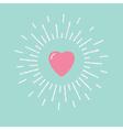 Big pink shining heart flat design vector