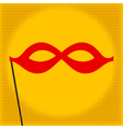 Red mask on yellow background pop art vector
