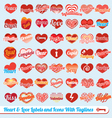 Hearts with tag lines labels and icons collection vector