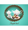 Teapot cup of tea and cupcakes on background vector