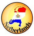 Orange button with the image maps of netherlands vector