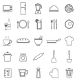 Kitchen line icons on white background vector
