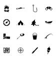 Black hunting icons set vector