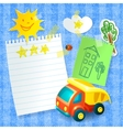 Toy truck paper postcard template vector