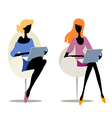 Girls with laptops vector