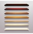 Wooden shelves set vector