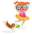 Little girl in swimming suit at the beach vector