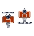 Backboard and basketball symbols vector