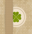 Vintage card with four-leaf clover for st patricks vector