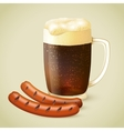 Dark beer and grilled sausage vector