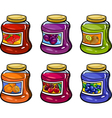 Jams in jars set cartoon vector