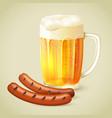 Light beer and grilled sausage emblem vector