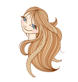 Beautiful woman with long blonde hair vector