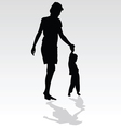 Mother holding a child by the hand vector