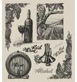 Hand drawn wine set vector