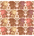 Seamless pattern with bunnies and flowers vector