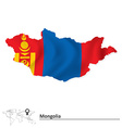 Map of mongolia with flag vector
