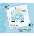 Baby shower - boy sleep on a turtle vector