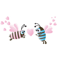 Valentines day two bee and hearts vector
