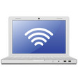 Laptop and wireless network vector