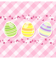 Easter egg and spring flowers on pink gingham vector