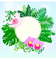 Round card with tropical elements of decor vector
