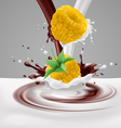 Yellow raspberries with milk and chocolate vector