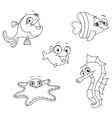 Outlined sea creatures vector