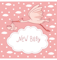 New baby stork flying with baby girl vector