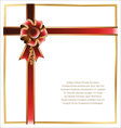 Gift card with red and gold ribbon background vector