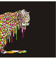 Leopard abstract painting on a black background vector