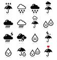 Rain thunderstorm heavy clouds icons set vector