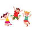 Happy children jumping isolated on white backgroun vector