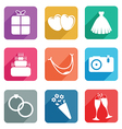 Wedding flat icons vector
