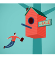 Flying real estate agent vector