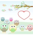 Owls and birds on tree branches nature element vector