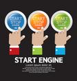 Hand push start-stop engine button set vector