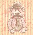 Teddy hat mustache tie vector