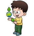 Boy holding the planet earth vector