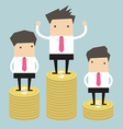 Businessman winner standing on gold coin vector