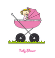Baby girl in carriage vector